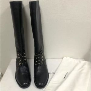 Balenciaga Pierce Ceinture Stud Knee High Boots 40